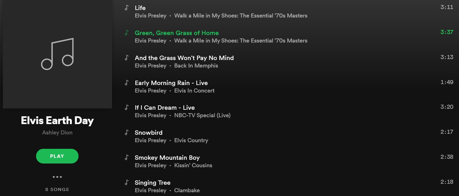 Elvis Earth Day Spotify