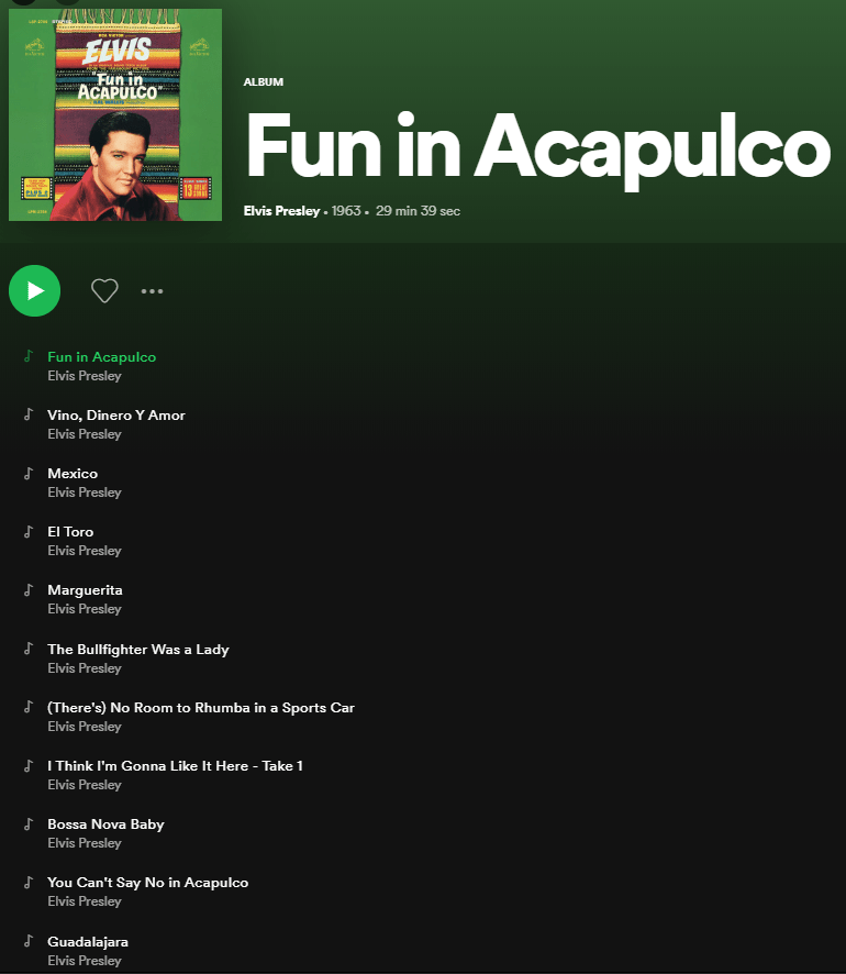 Fun in Acapulco Spotify Playlist